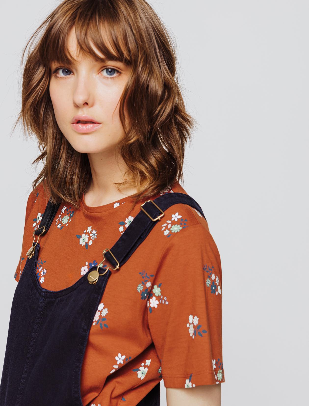 T-shirt imprimé fleur en coton bio femme
