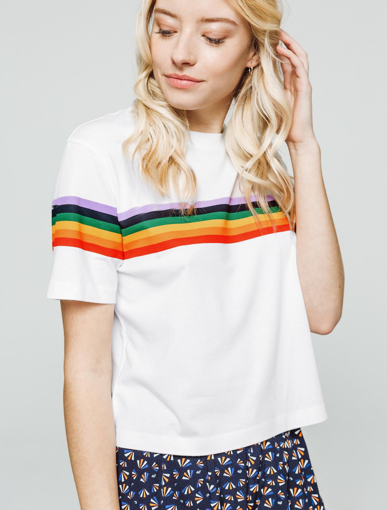 T-shirt rayé arc-en-ciel femme