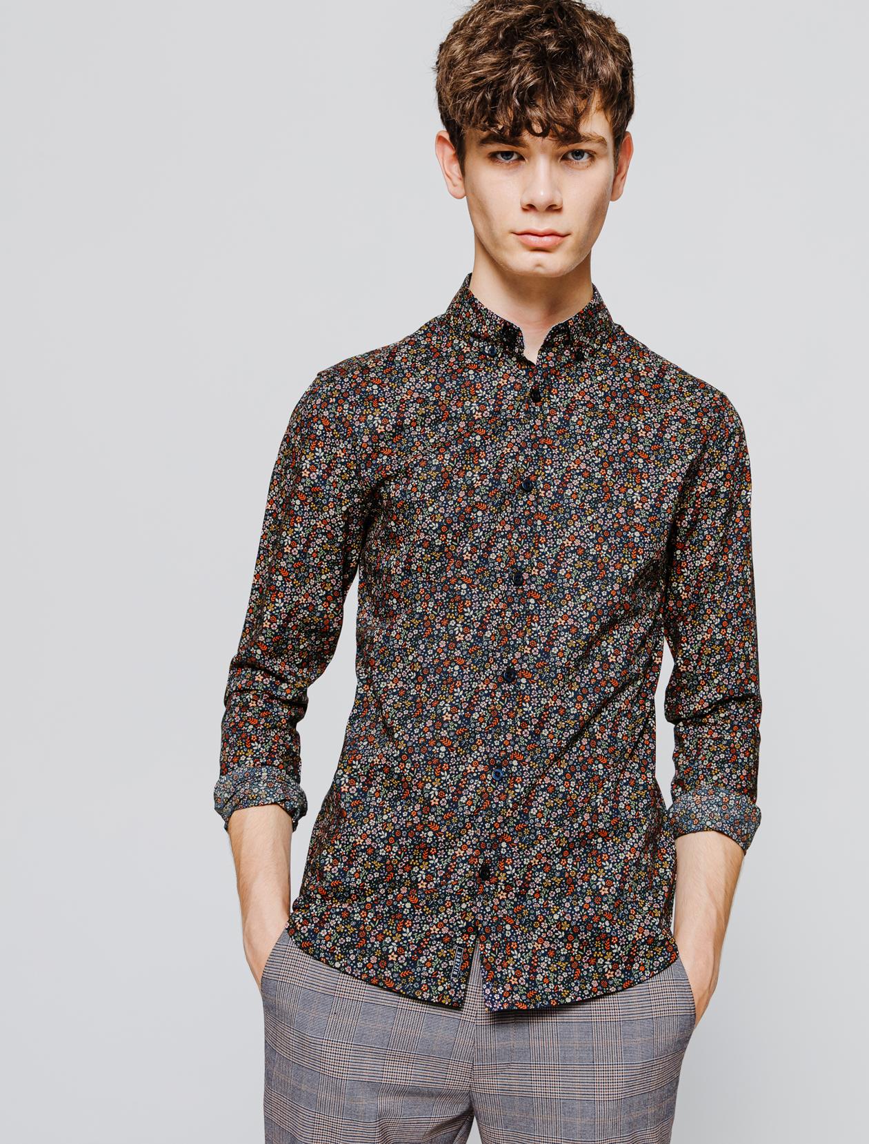 Chemise slim à fleurs homme