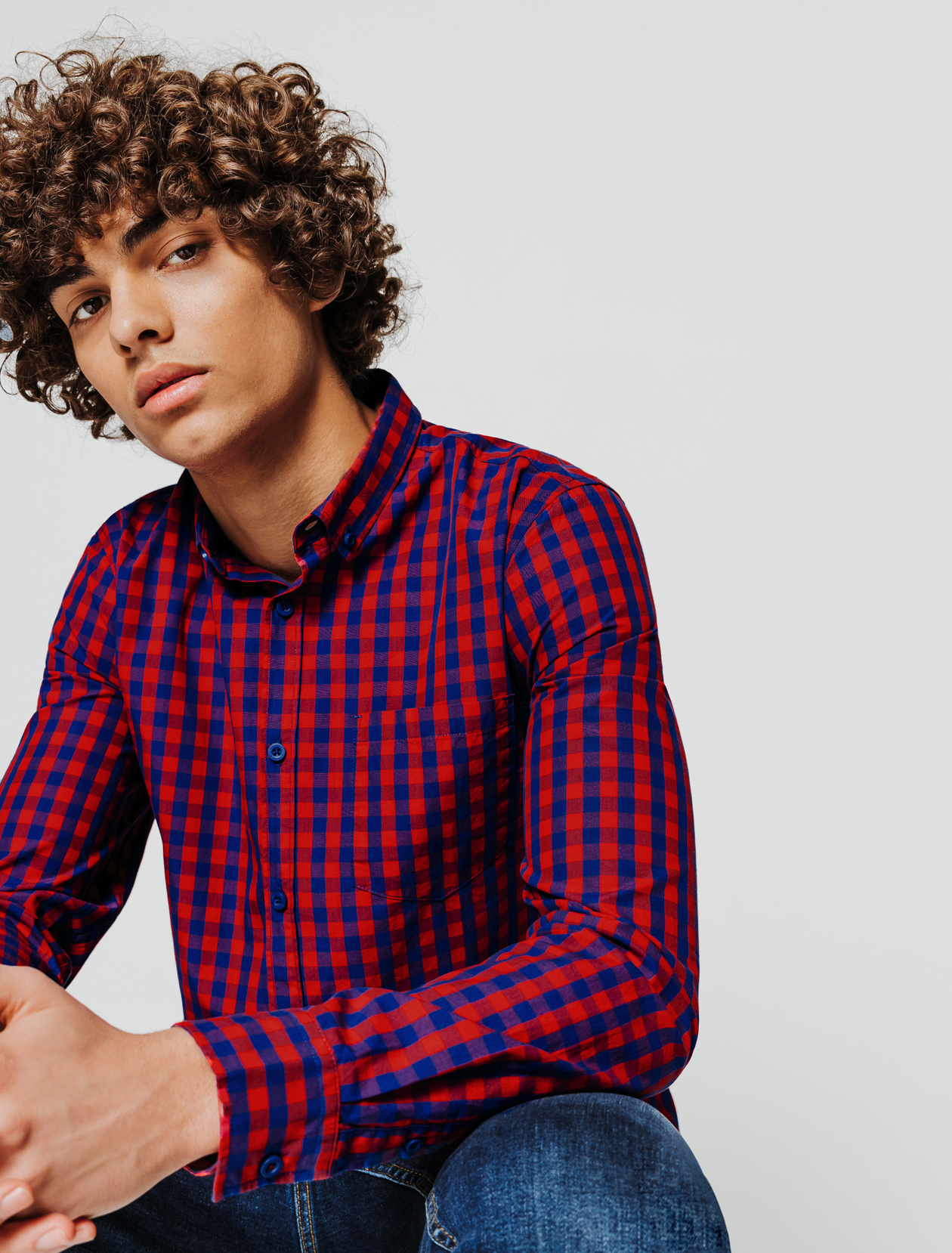 Chemise à carreaux vichy homme