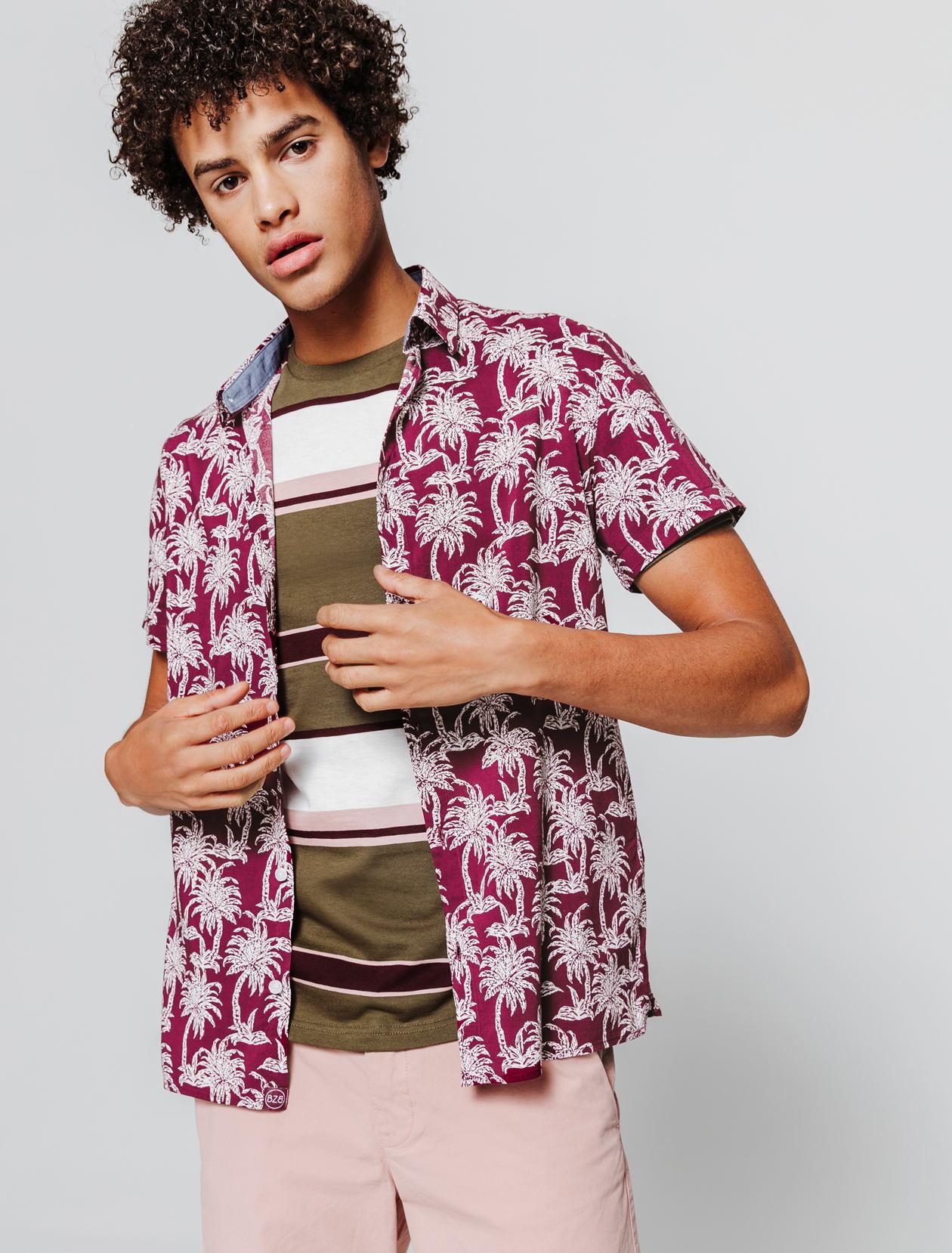 Chemise manches courtes imprimée palmiers. homme