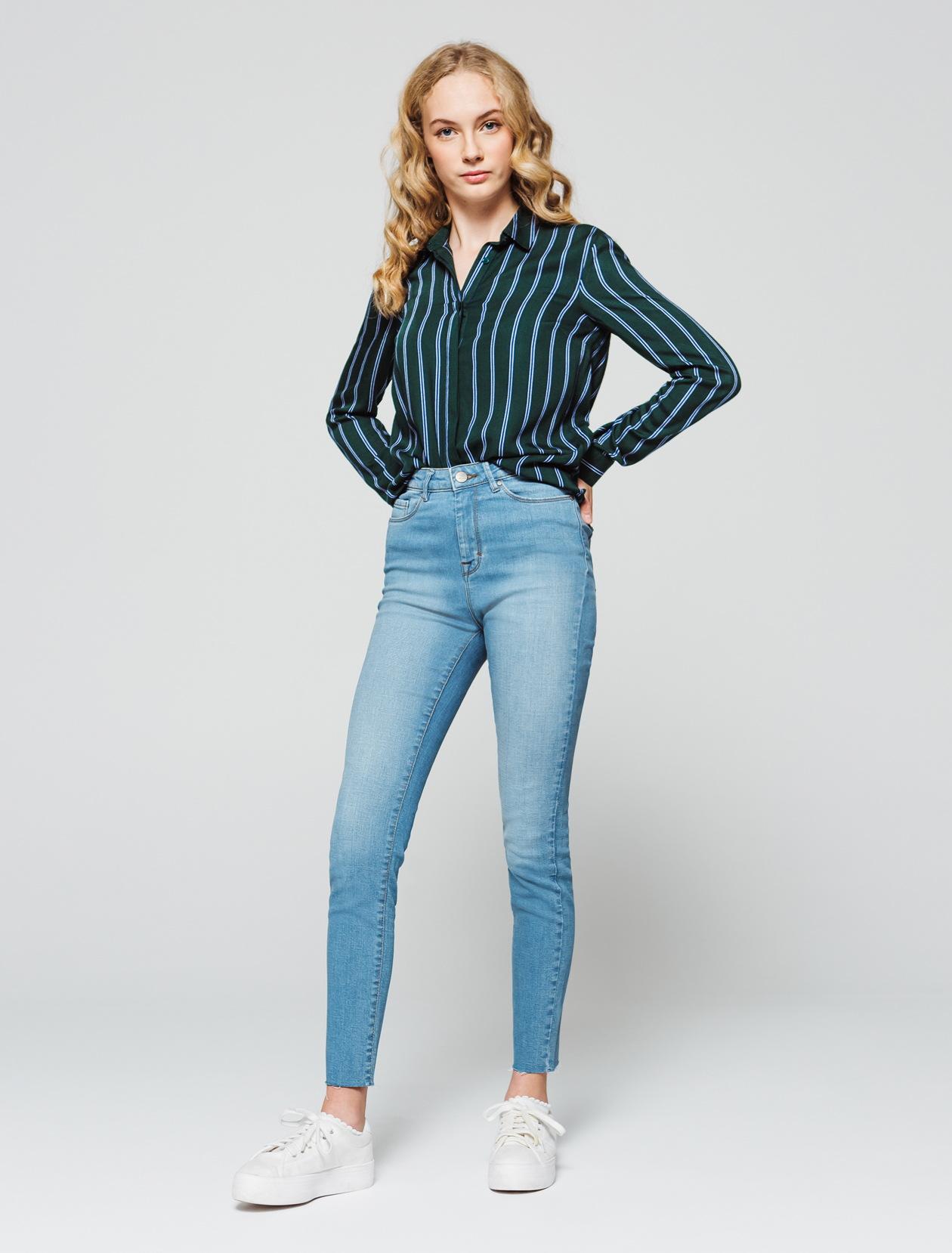 Jean denim skinny cropped femme