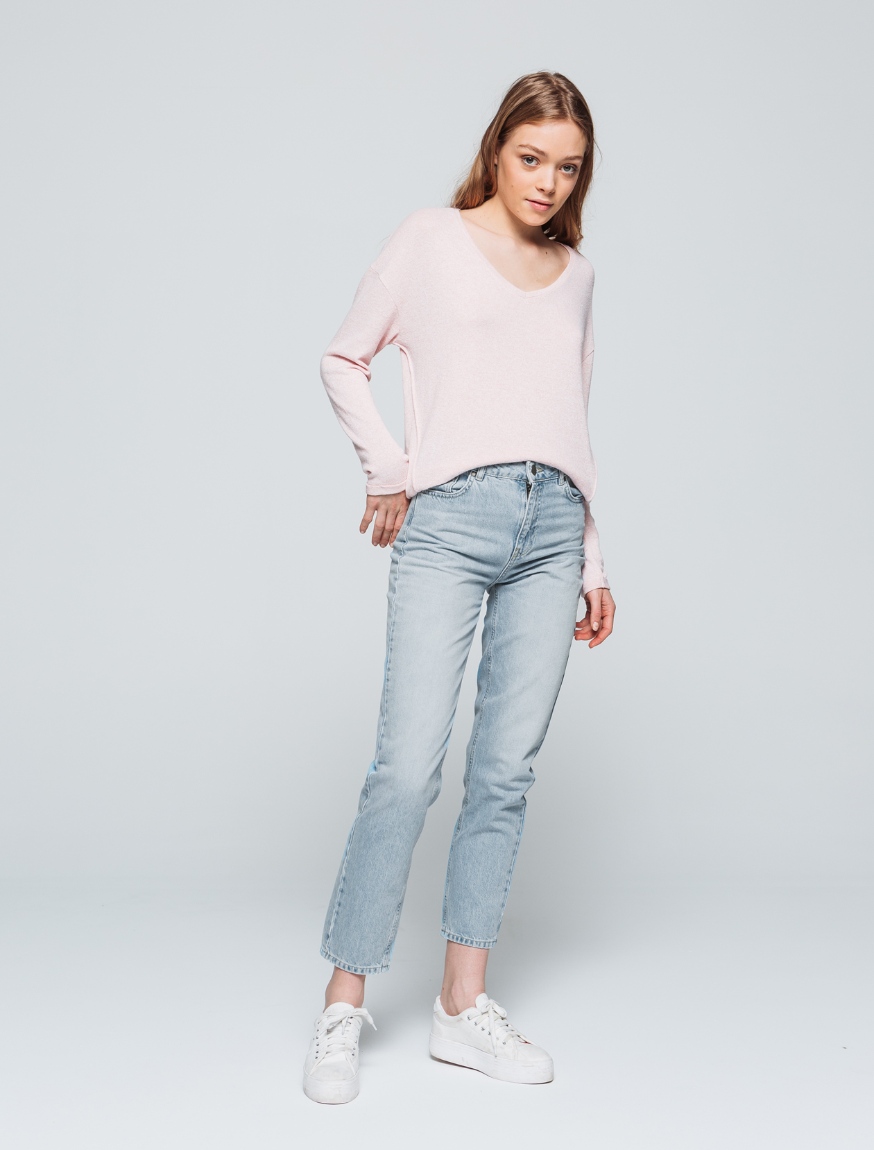 Jean denim relaxed fit taille haute femme