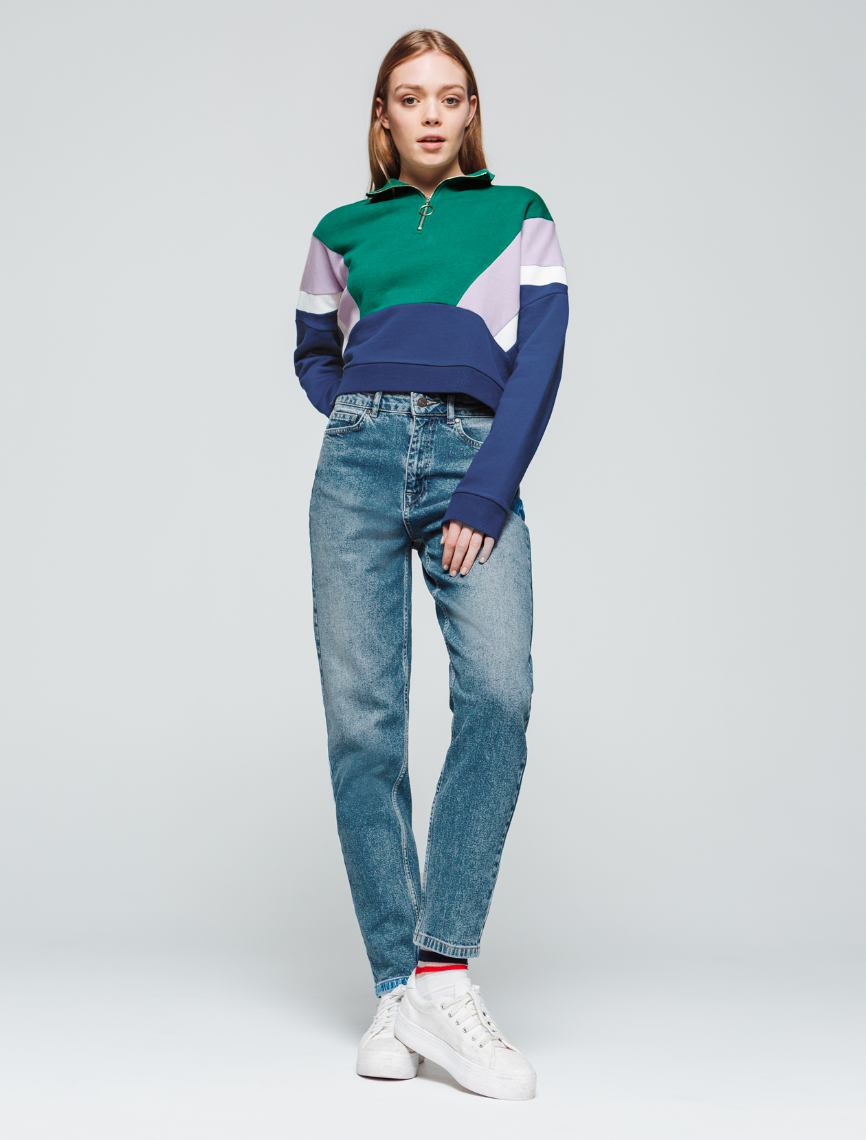 Sweat cropped colorblock femme