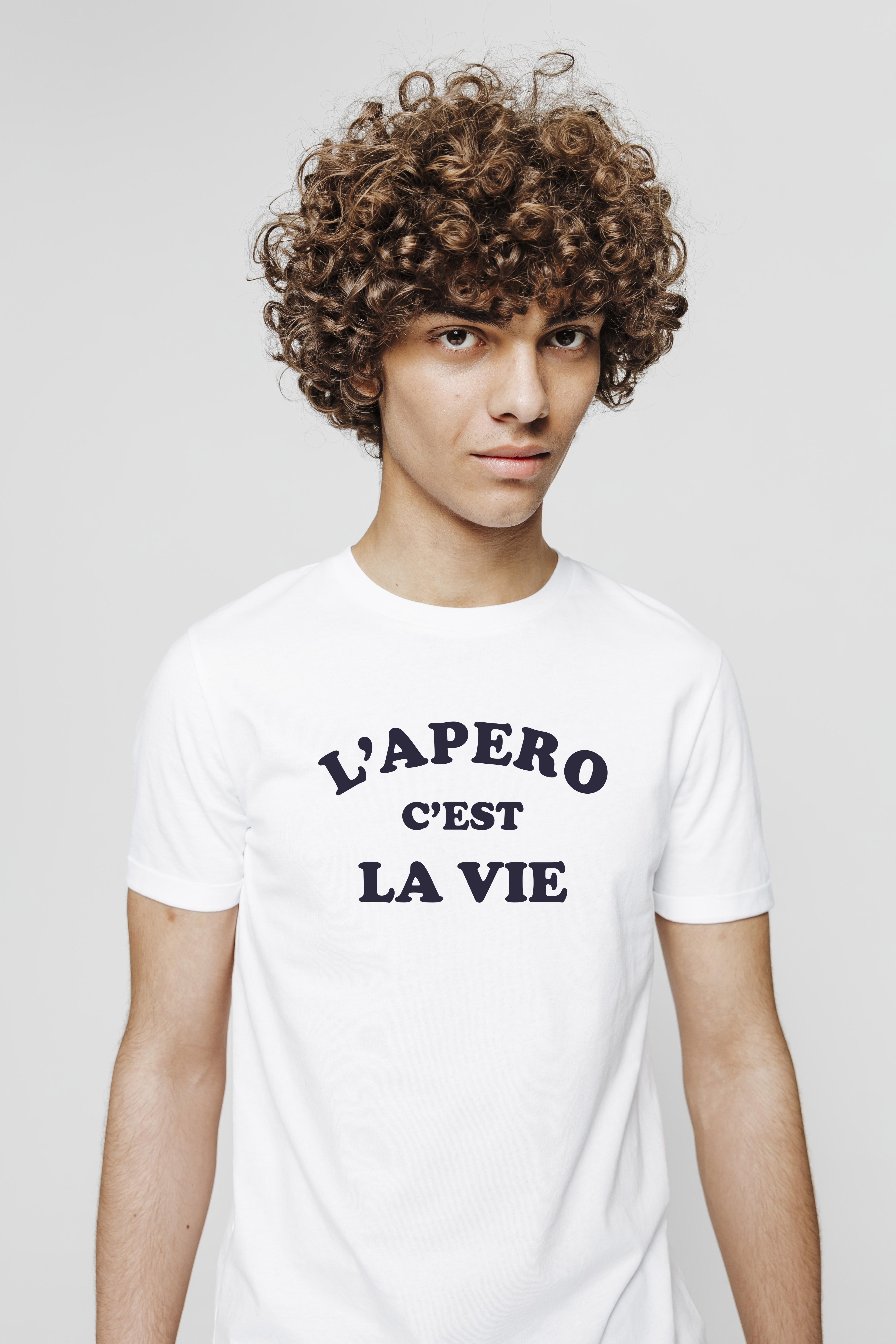 T-shirt neps à message l'apéro c'est la vie homme