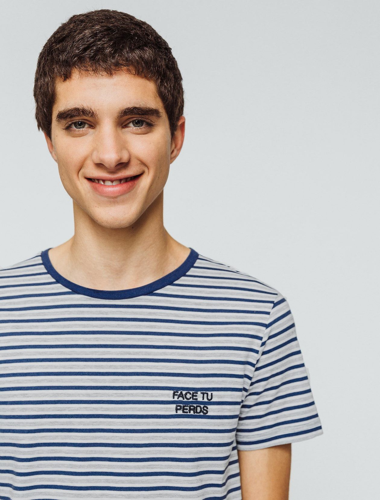 """T-shirt rayures message """"Face tu perds"""" homme"""