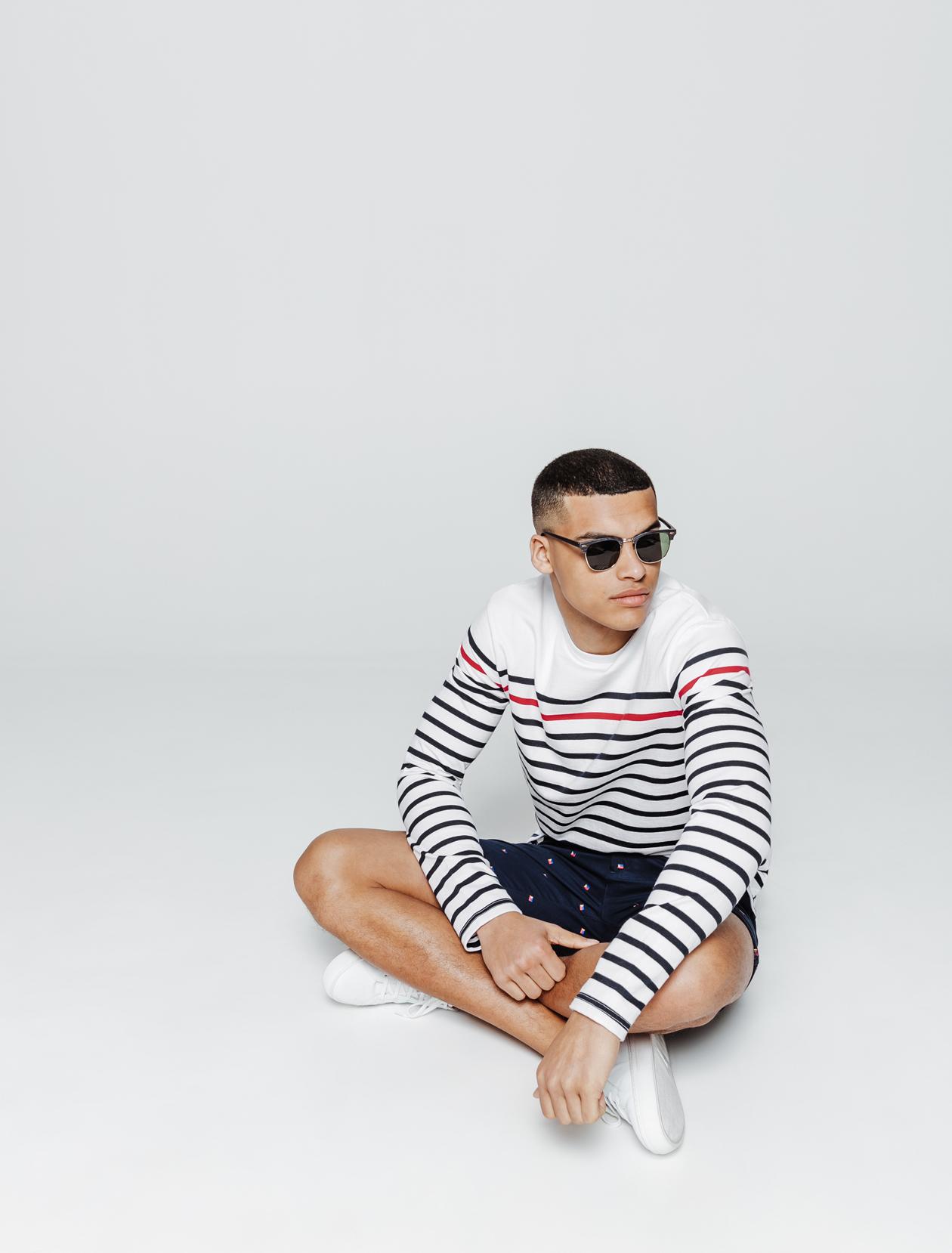 T-shirt esprit marin rayures contrastées homme