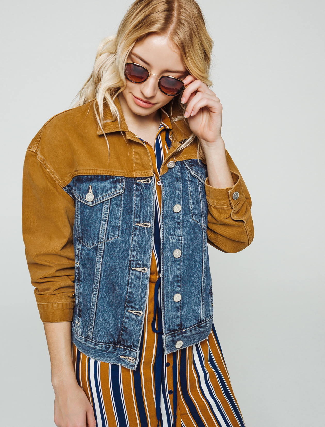 veste en jean color block femme
