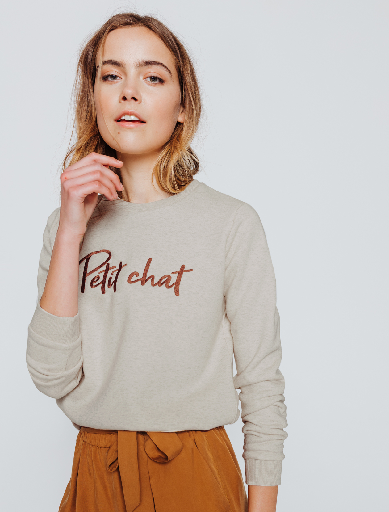 Sweat message Petit chat femme