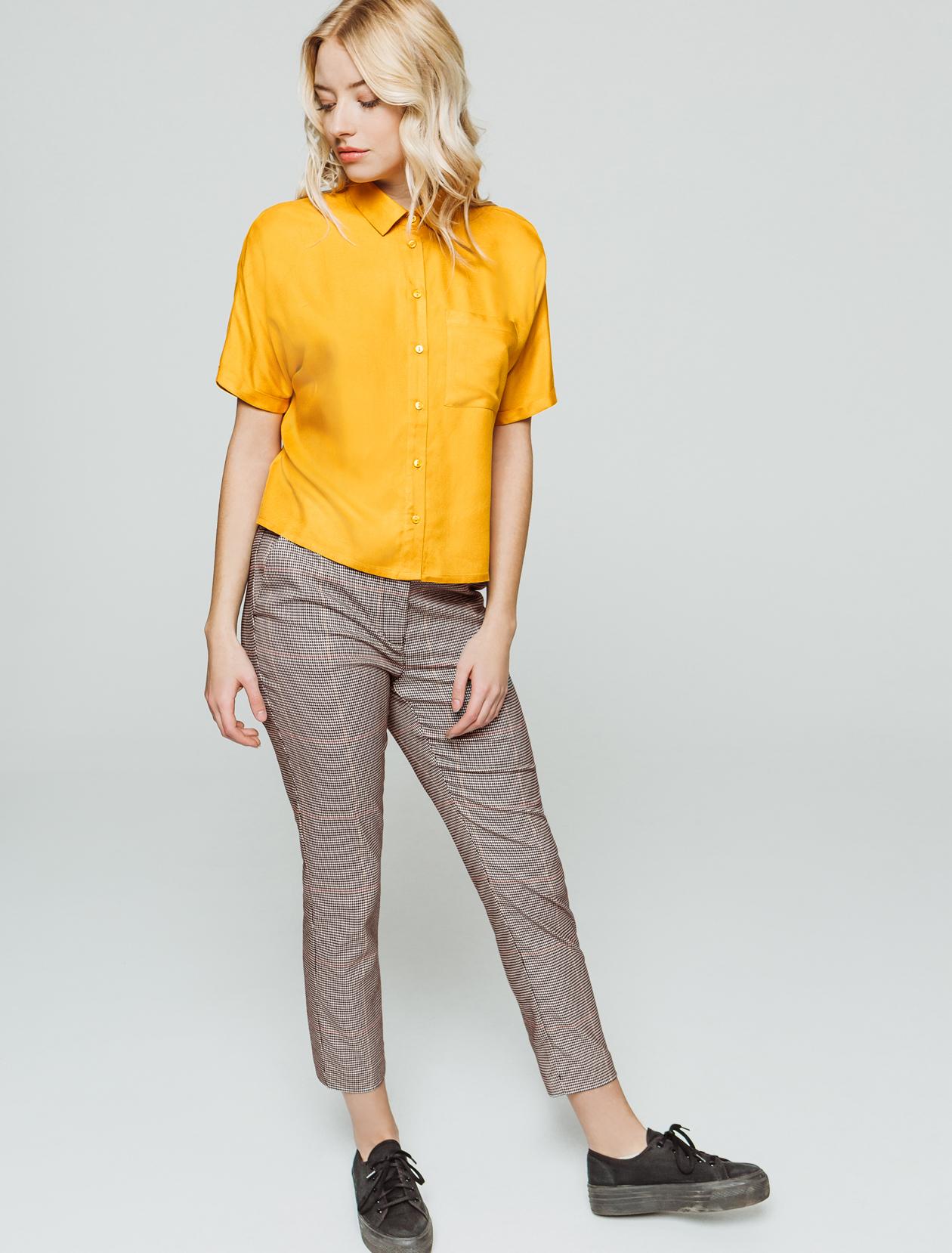 Pantalon cropped carreaux taille élastiquée femme
