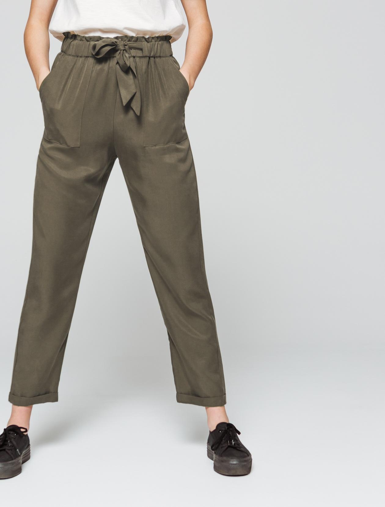 Pantalon fluide noué taille haute femme