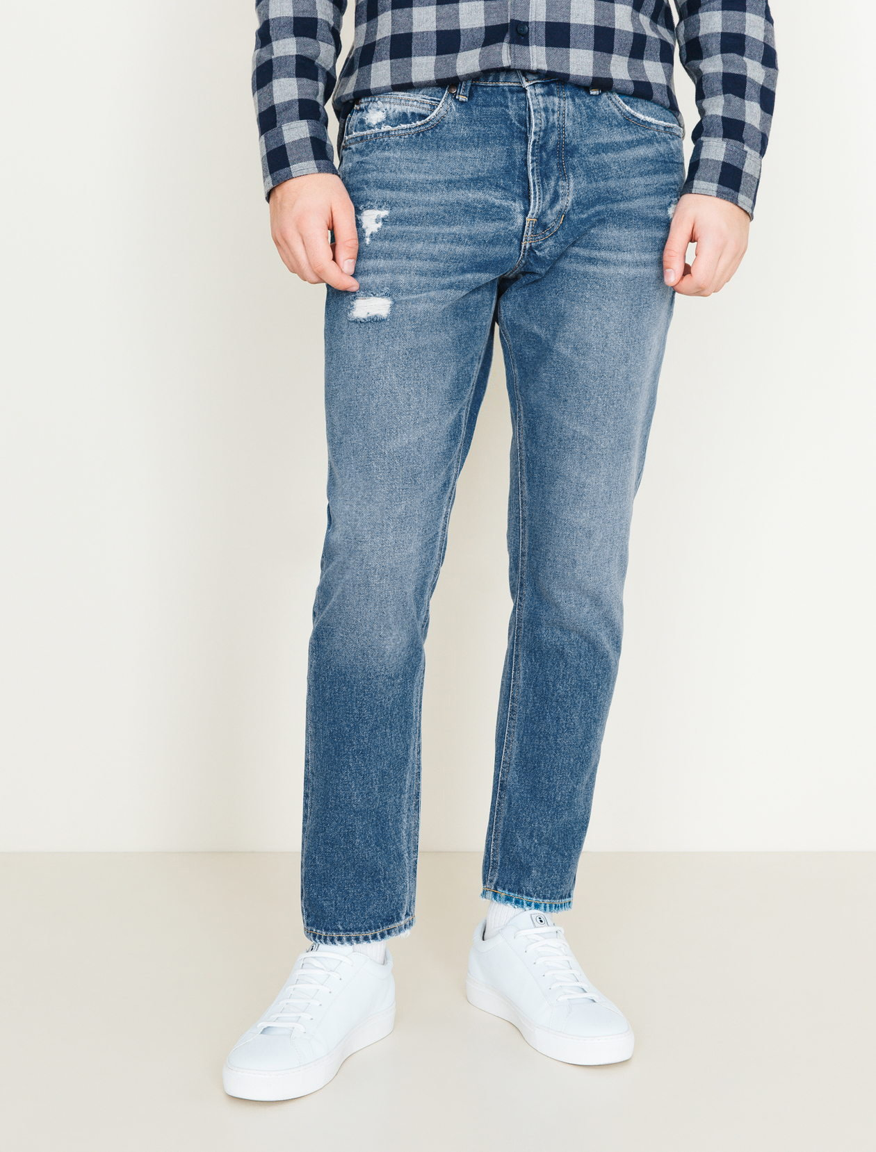 Jean straight tapered raccourci homme