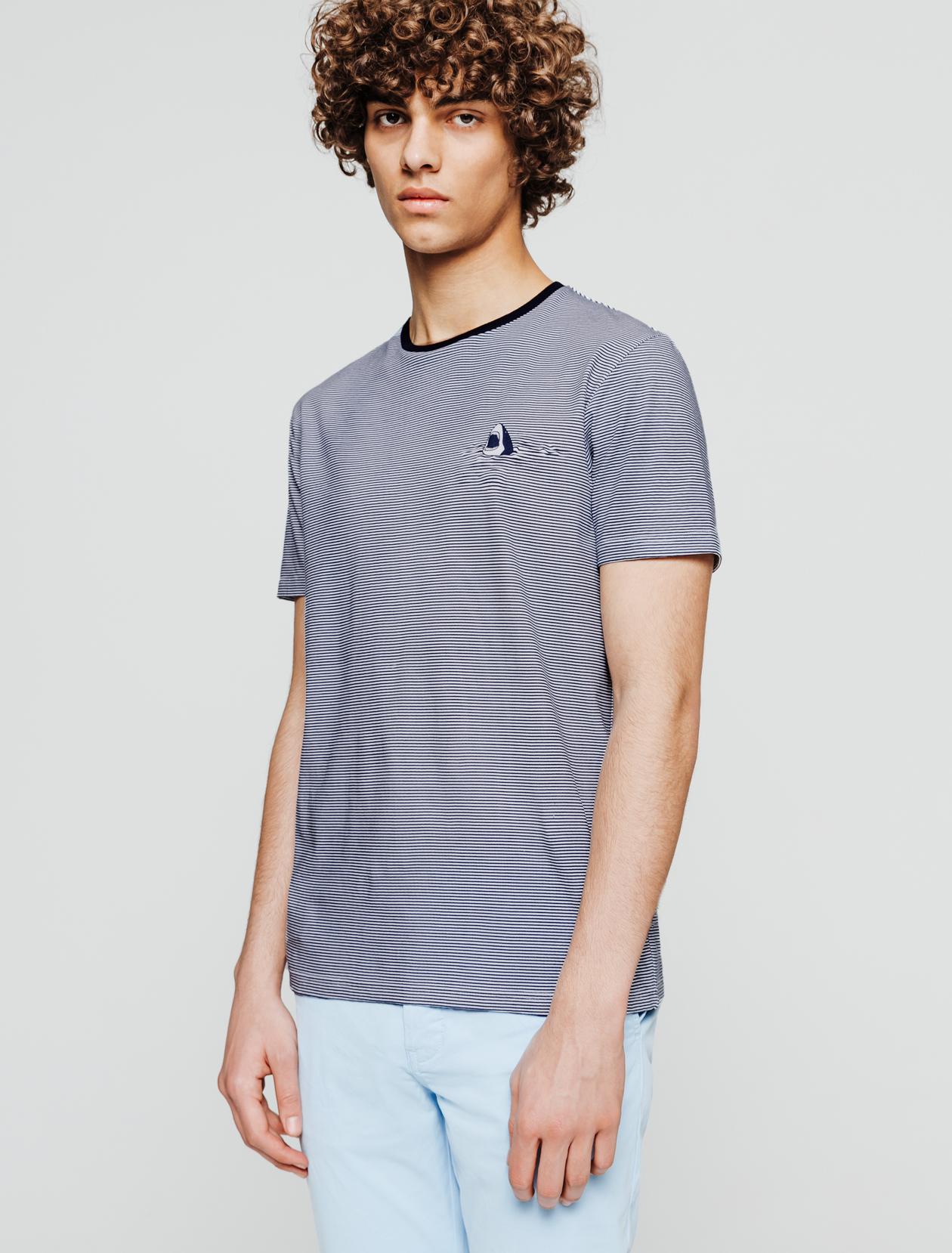 T-shirt rayé shark homme