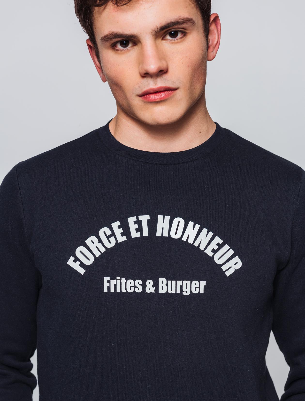 """Sweat message """"Frites et honneur"""" homme"""