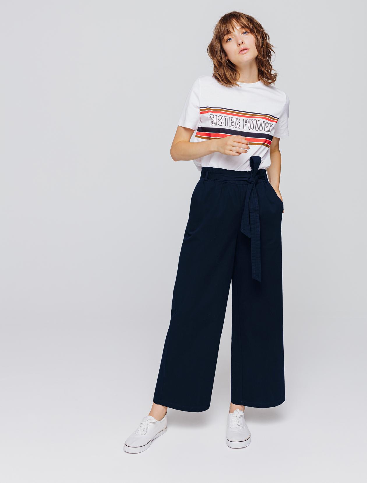 Pantalon large taille haute femme