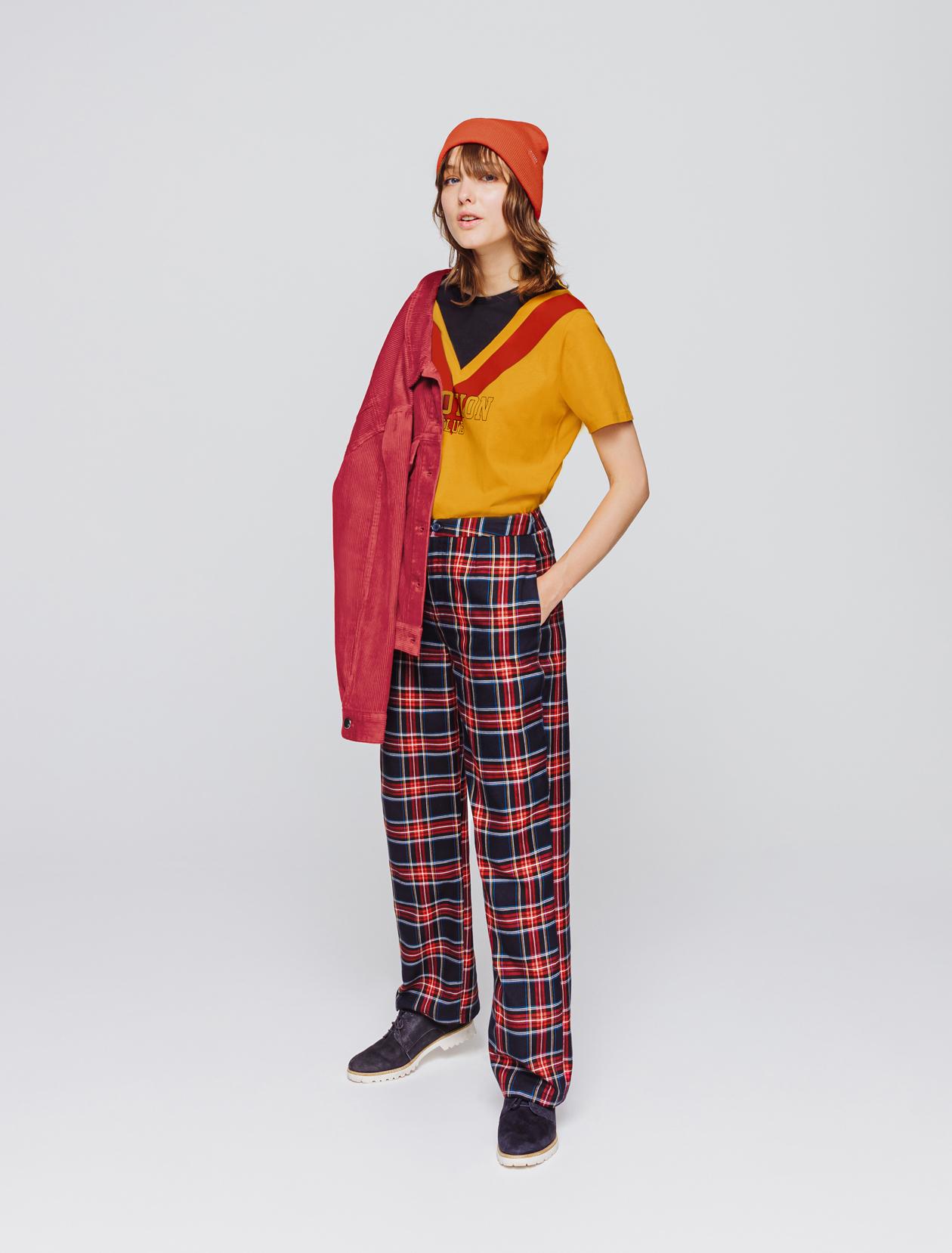 Pantalon city carreaux flanelle femme