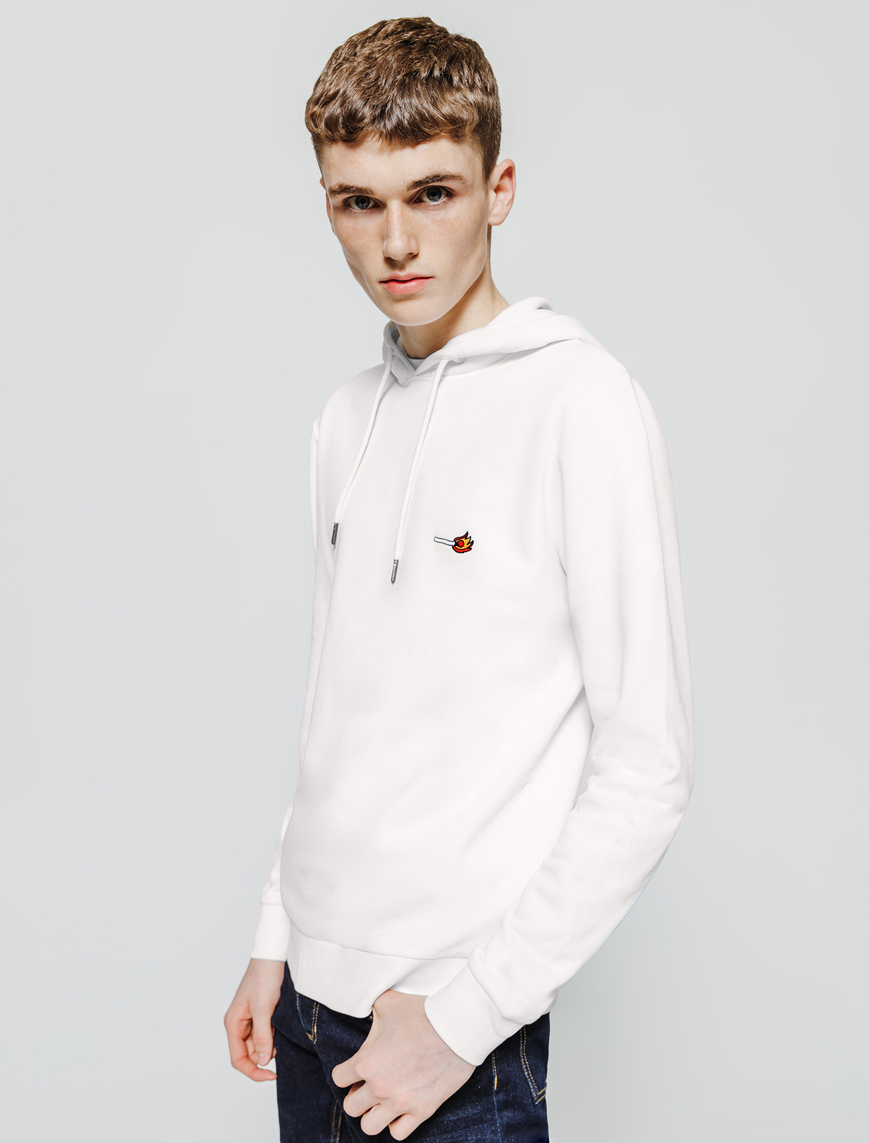 Sweatshirt col rond brodé homme
