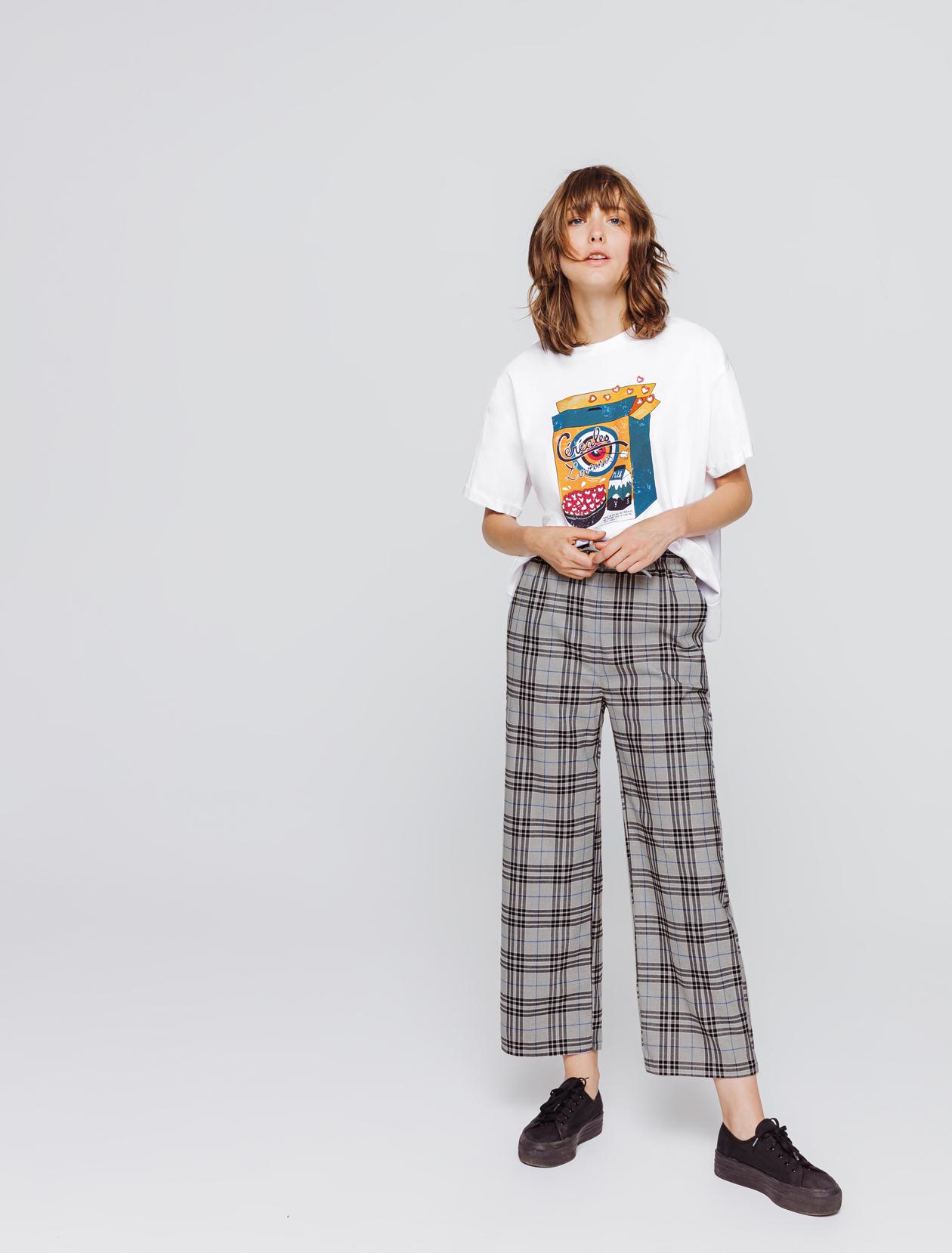Pantalon cône carreaux femme